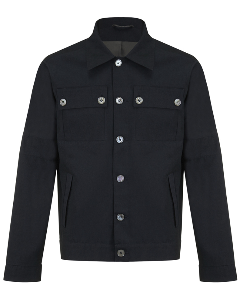 Madison jacket- navy cotton gabardine drop shoulder jacket with storm pockets