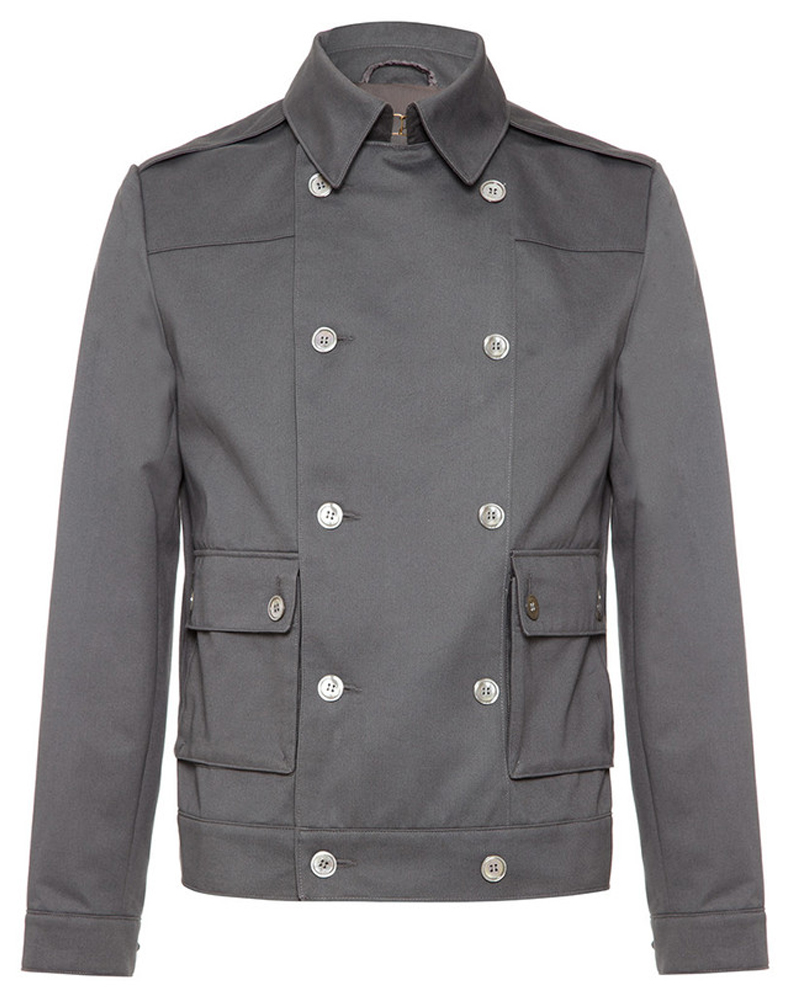 Thornhill jacket- dark grey brushed cotton military style biker jacket