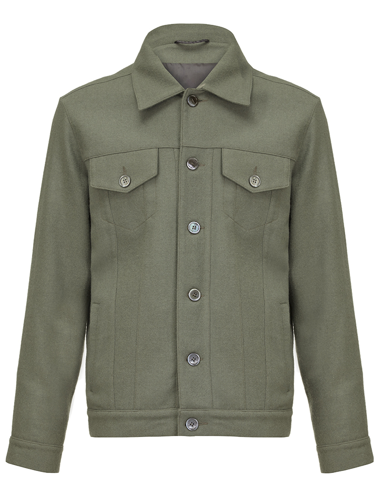 Nestor jacket- lovat green hainsworth lightweight merino casual jacket