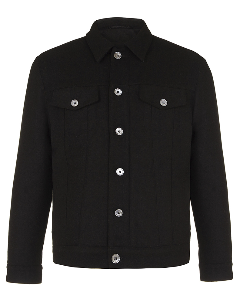 Nestor jacket- hainsworth black melton jacket with black quilted jersey lining