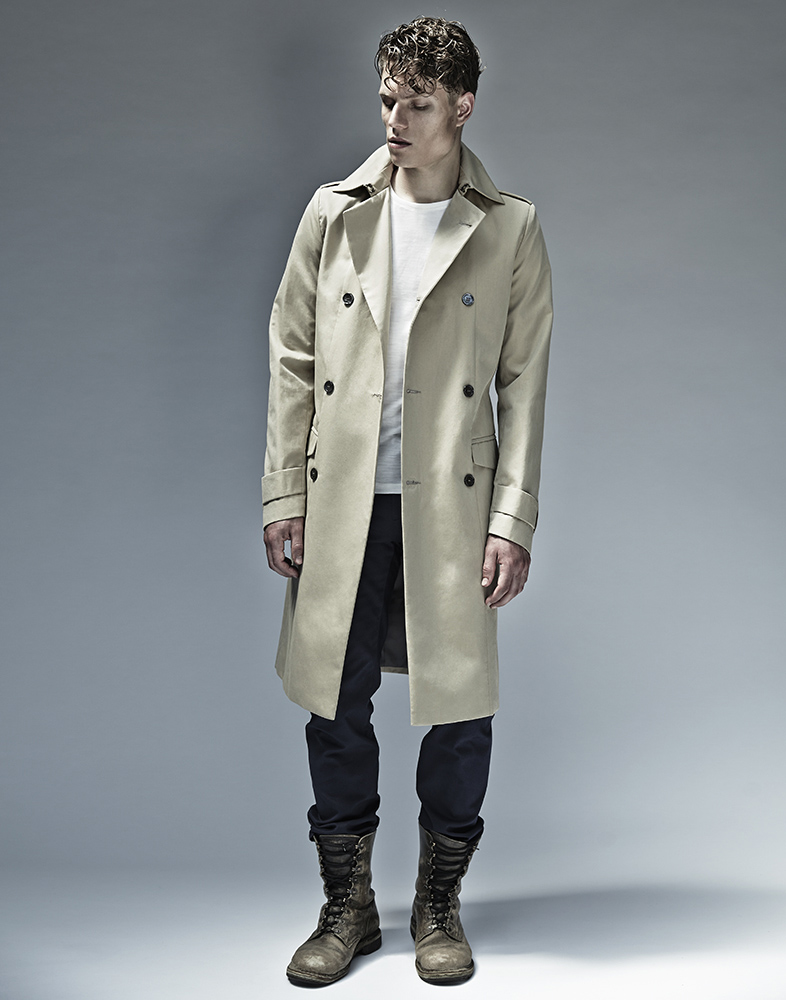 Jenny Schwarz: Travis coat- oatmeal cotton gabardine double breasted coat | Clothing > Coats,Clothing -  Hiphunters Shop